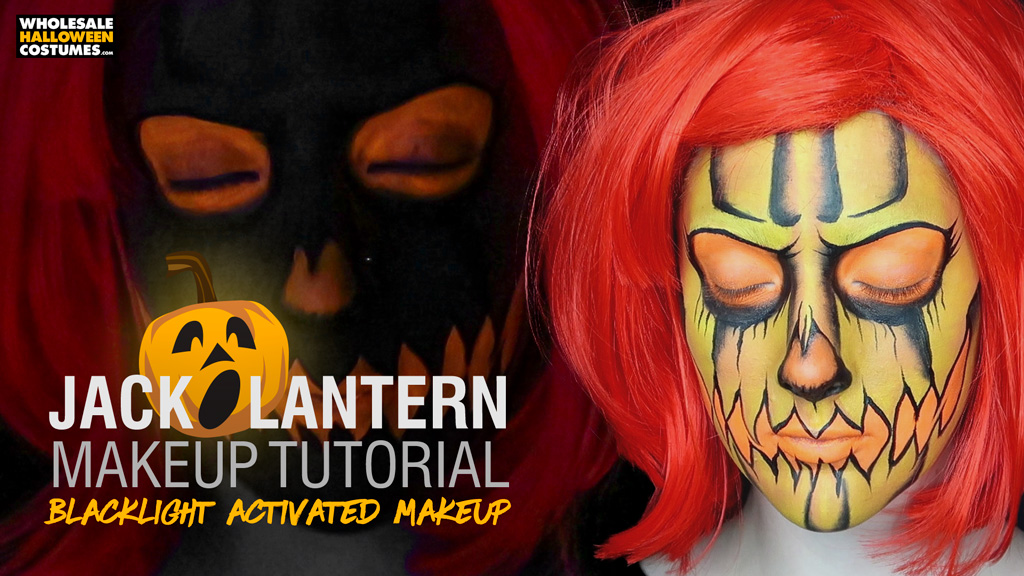 Jack O Lantern Makeup Tutorial with Blacklight Activated Glowing Makeup