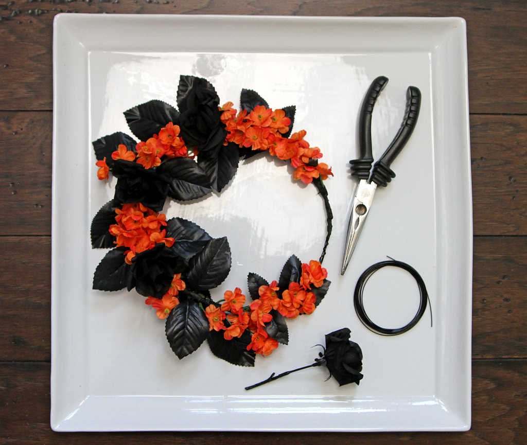 DIY Halloween Flower Crown Step 5