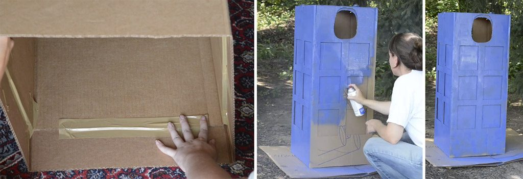 DIY TARDIS Costume from a Cardboard Box