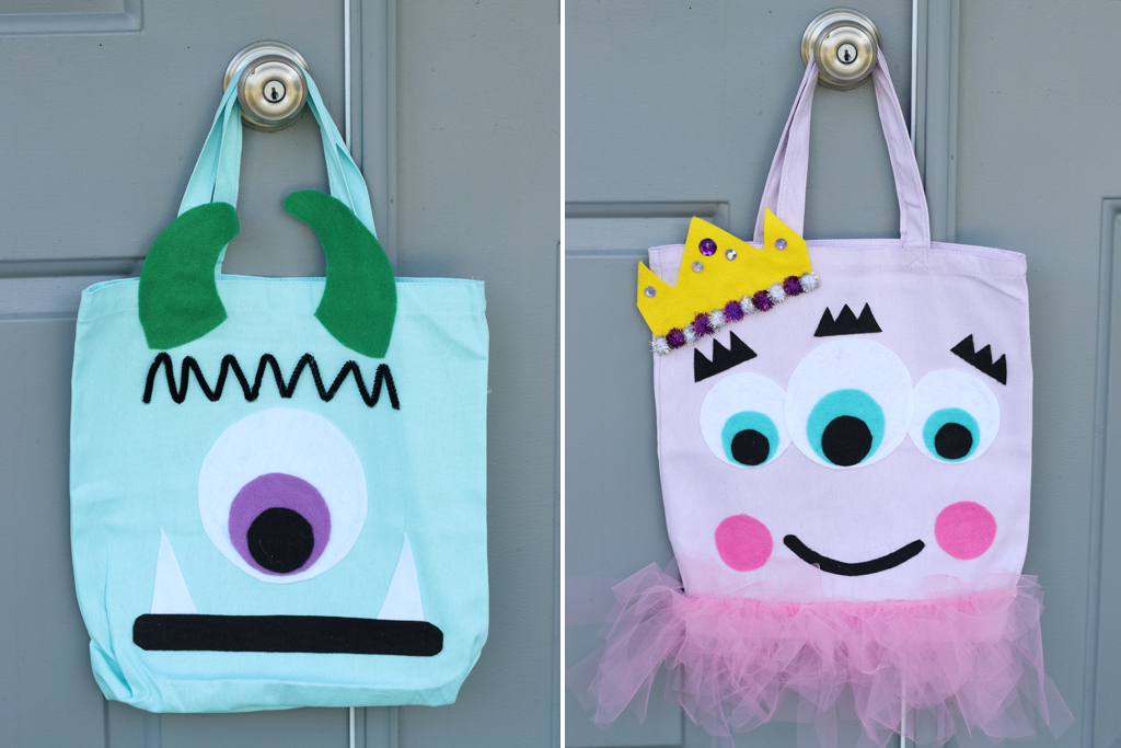 DIY No-Sew Monster Trick Or Treat Totes
