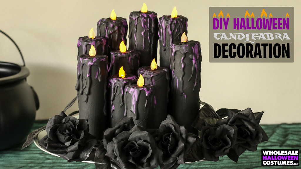 DIY Cardboard Tube Candleabra Halloween Decoration