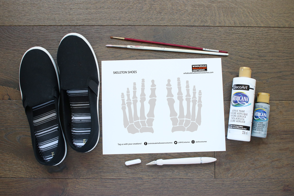 DIY Skeleton Shoes Supplies