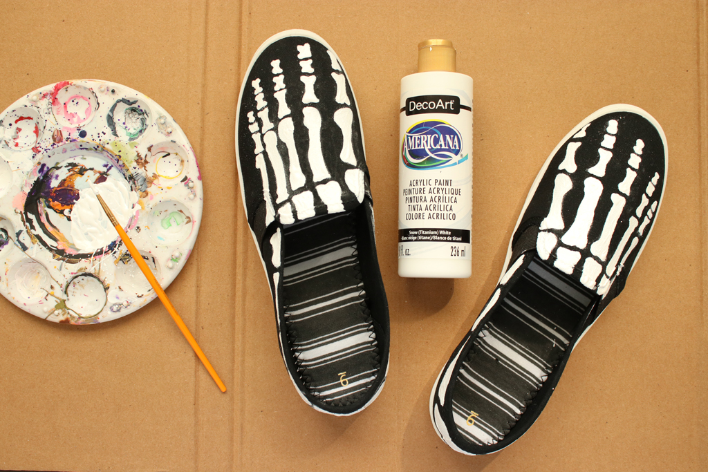 DIY Skeleton Shoes White Paint