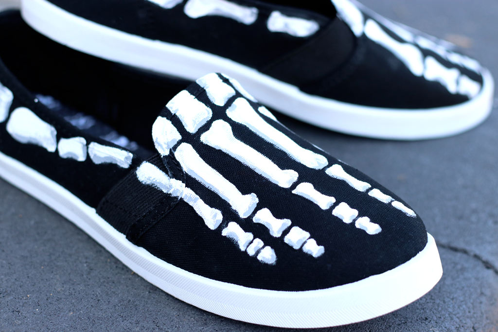 DIY Skeleton Shoes Closeup