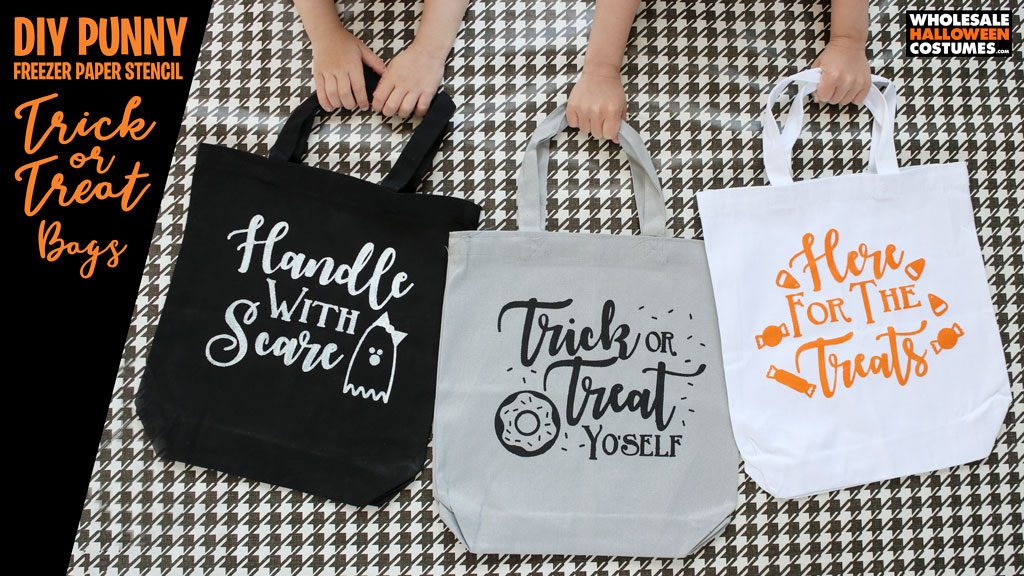 DIY Punny Trick Or Treat Halloween Totes