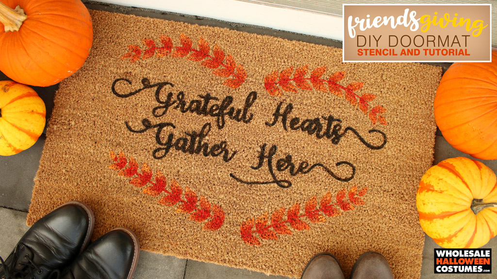 DIy Friendsgiving Doormat Stencil and Tutorial