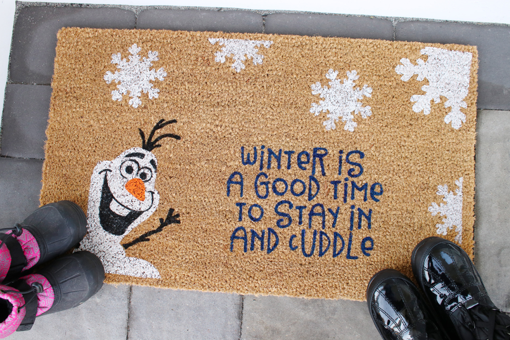 DIY Frozen Inspired Doormat With Olaf