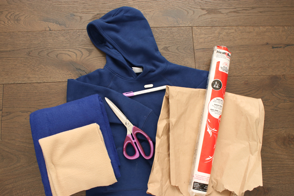 DIY Sonic the Hedgehog Hoodie Supplies